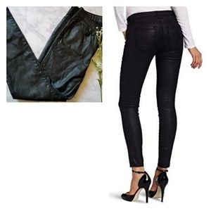 Joie Black Coated Nailah Faux Leather Pants 29